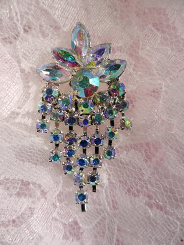 ACT/XR185 Aurora Borealis Rhinestone Applique Glorious Dangles Silver Embellishment 1.5\