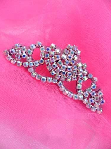 ACT/XR243/A  Black Backing Crystal Aurora Borealis Rhinestone Elegant Tiara Applique 3.75\