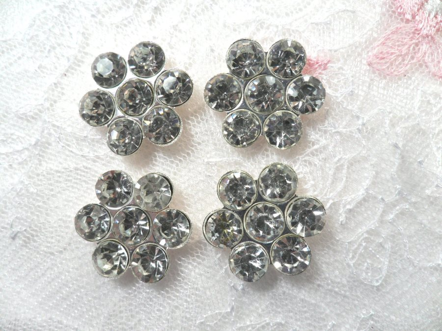 (Set of 4) Flower Crystal Rhinestone Silver Setting Appliques 7/8 (ACT/XR372)