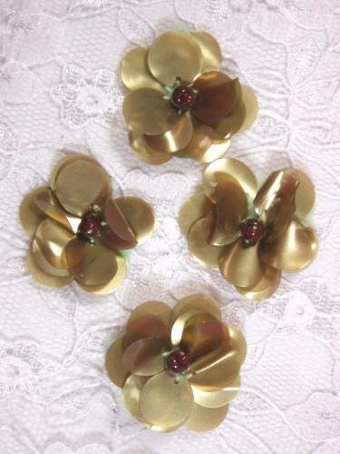 AE1590  Set of ( 4 ) Matt Olive Floral Beaded Sequin Appliques 1