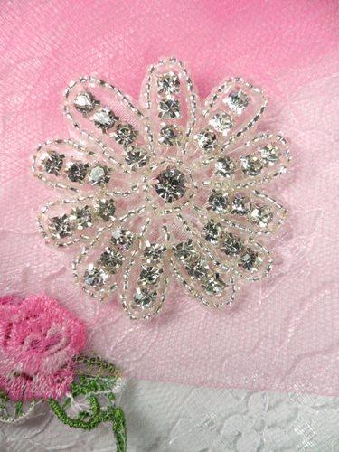 AJB8A Floral Crystal Clear Silver Beaded Rhinestone Applique 2\