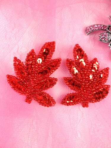 AT8633 Red Leaf Mirror Pair Sequin Beaded Appliques 2\