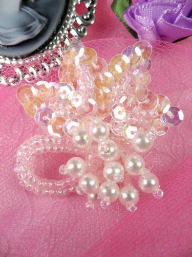 AT8634 Pink Crystal AB Dangle Floral Beaded Sequin Applique 2\