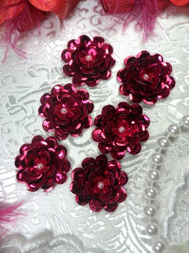 AT8900 Set of 6 Fuchsia Sequin Flower Pearl Appliques 1\