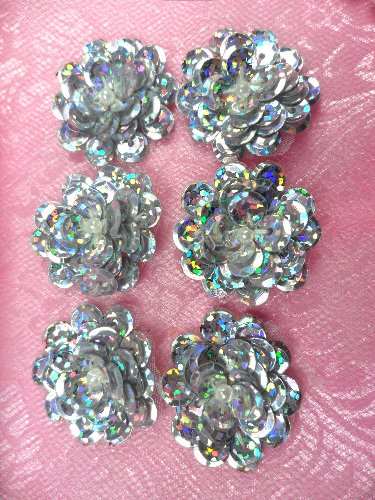 AT8900 Set of 6 Silver Holographic Sequin Flower Pearl Appliques 1\