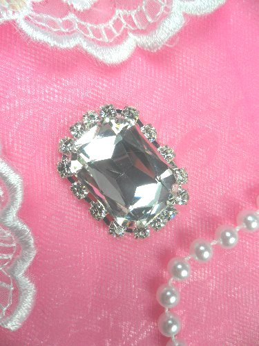ACT/N23 Rectangle Silver Crystal Clear Glass Rhinestone Metal Backing Embellishment 1.5