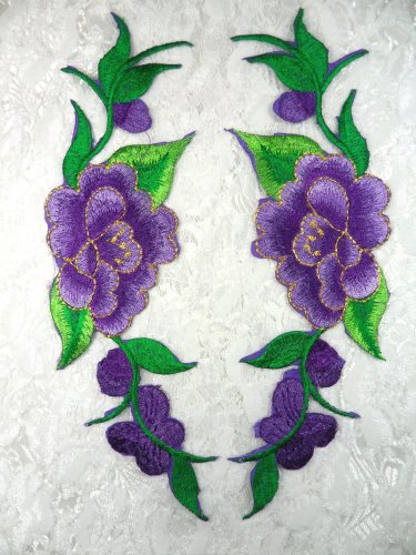 GB295 Embroidered Appliques Purple Floral Mirror Pair 8\