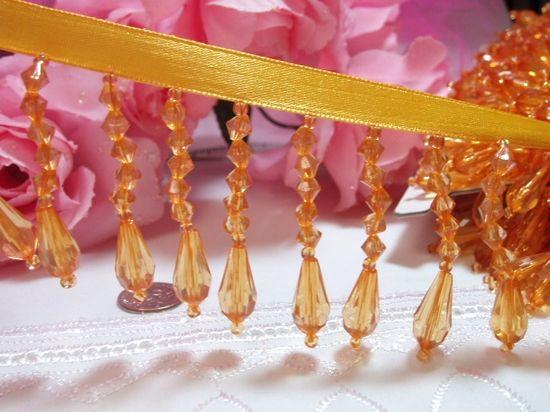 C2  Yellow Gold Teardrop Beaded Fringe Sewing Trim 2