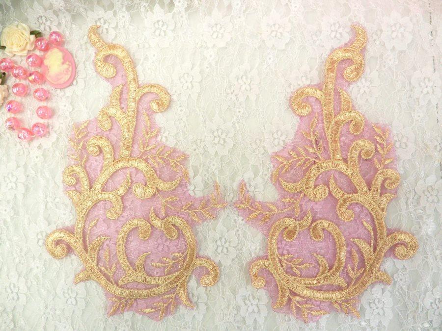Embroidered Appliques Gold Fuschia Metallic Mirror Pair Designer Scroll Motifs 10 (BL100X)