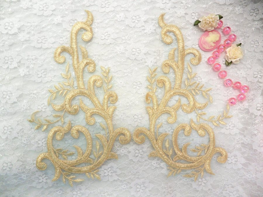 Embroidered Appliques Gold Green Metallic Mirror Pair Designer Scroll Motifs 10 (BL100X)