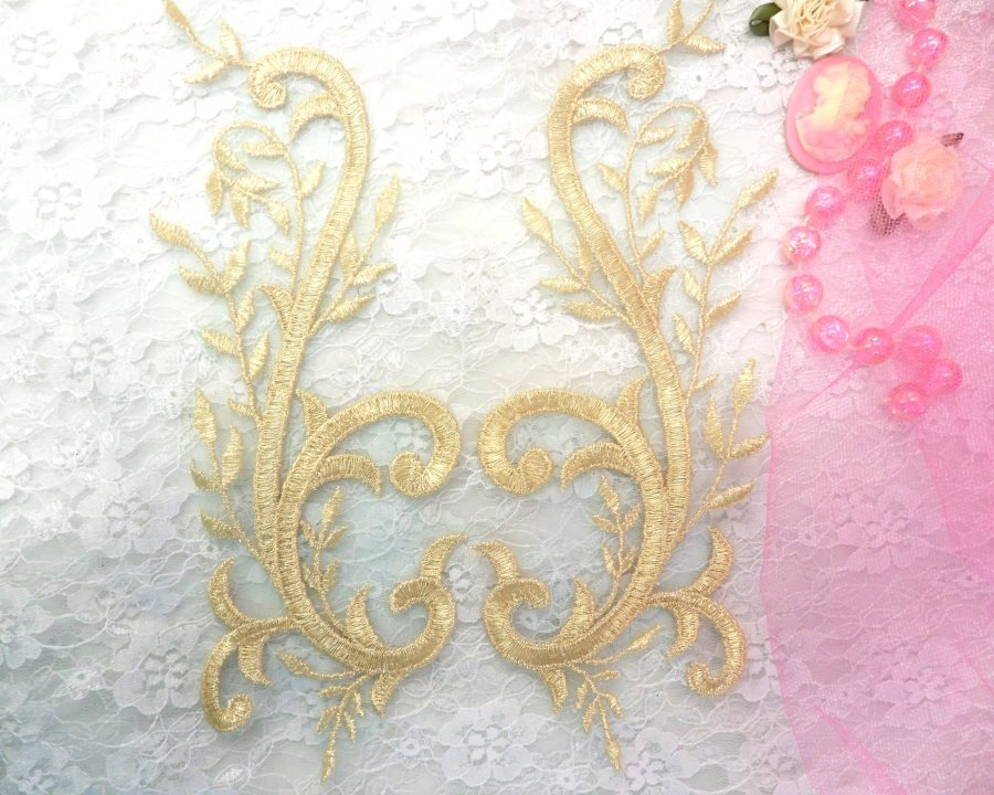 Embroidered Appliques Gold Green Metallic Mirror Pair Designer Scroll Motifs 9.5 (BL101X)