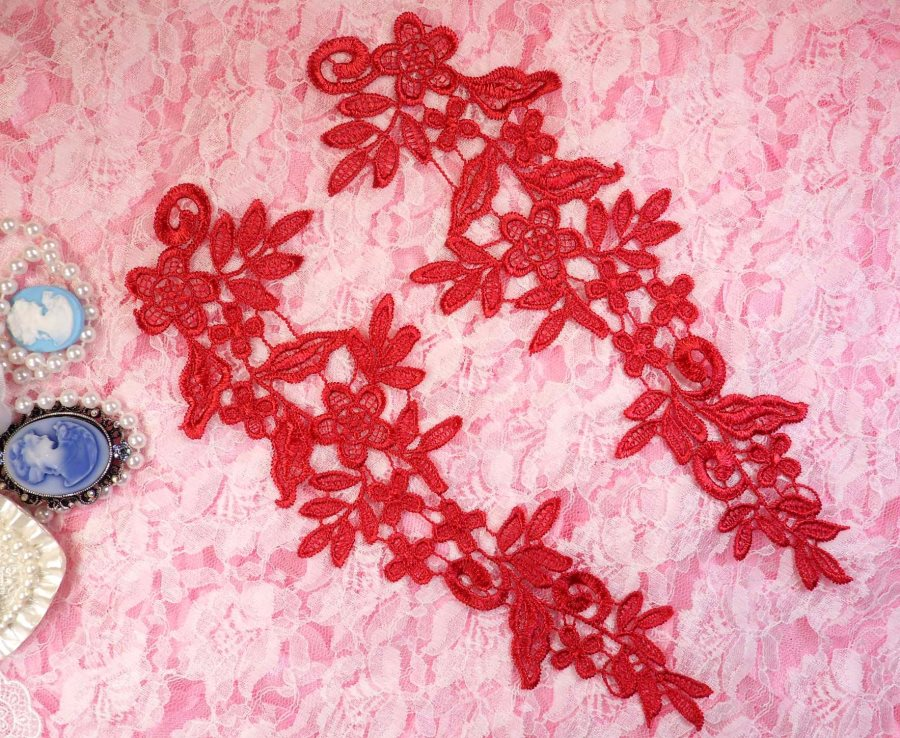 Embroidered Floral Applique Mirror Pair Brick Red Clothing Patch Craft Motif 10 (BL106X)