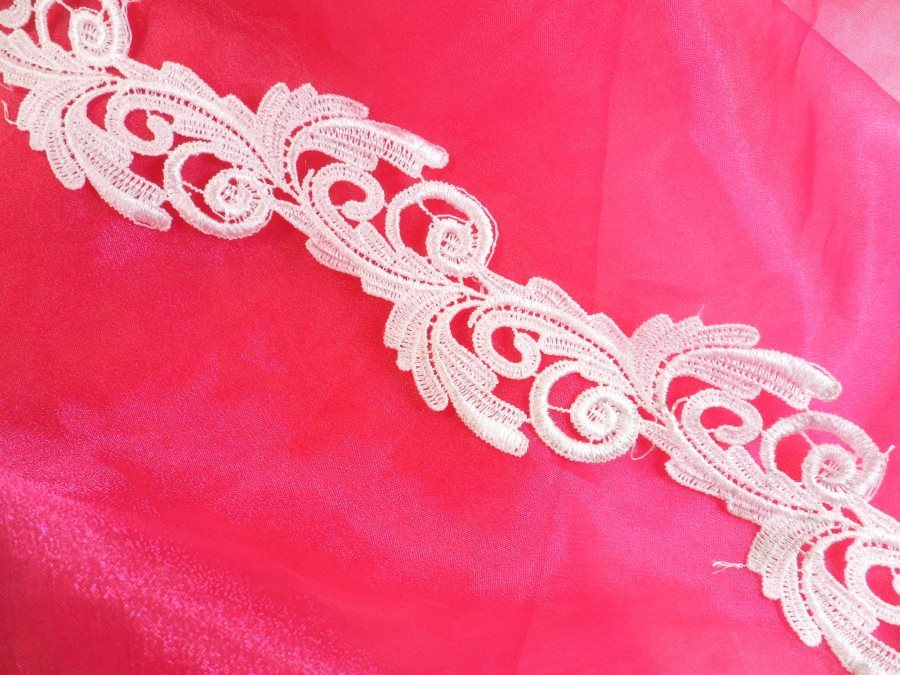 Embroidered Lace Trim White Scroll