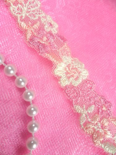 BL11 Pink Ivory Floral Venice Lace Flower Trim .75\