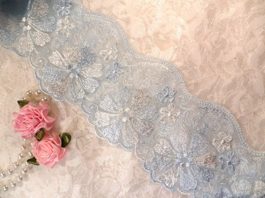 REMNANT 12 Embroidered Lace Trim Floral Light Blue