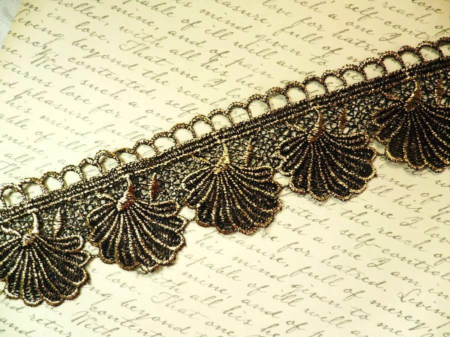 Embroidered Lace Seashell Trim Black Metallic Gold 2.5 (BL111)