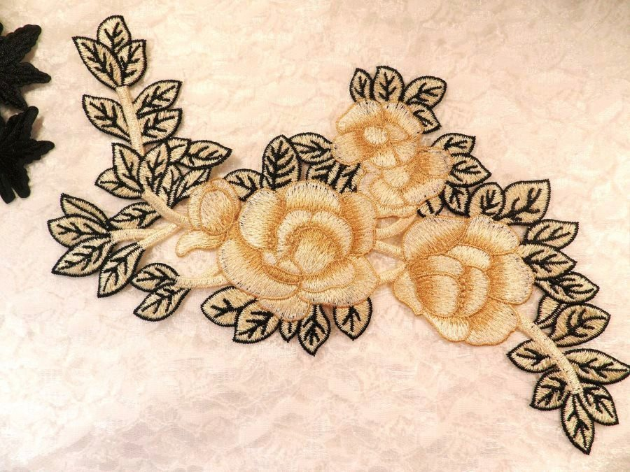 Embroidered Floral Applique Beige Black Craft Patch Clothing Motif 12 (BL115)