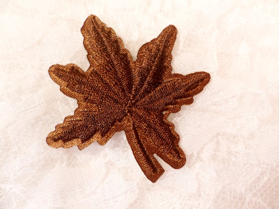 Embroidered Leaf Applique Brown Clothing Patch Craft Motif 2 (BL116)