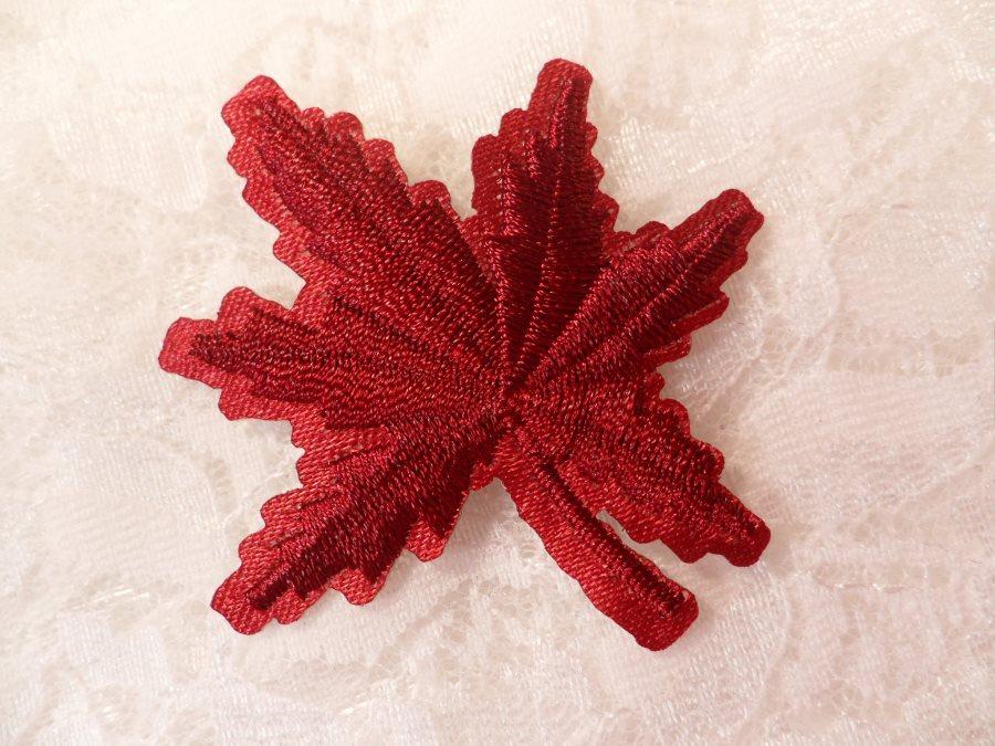Embroidered Leaf Applique Burgundy Clothing Patch Craft Motif 2 (BL116)