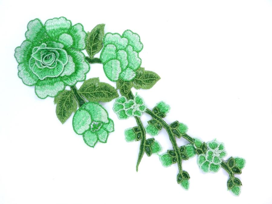 Embroidered Floral 3D Applique Green Rose Patch Craft Motif 12 (BL122)
