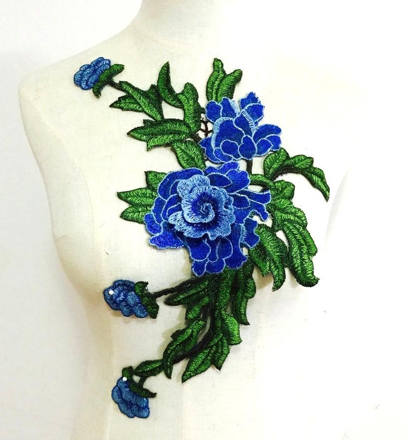 Embroidered Floral 3D Applique Blue Rose Patch Craft Motif 14.75 (BL123)