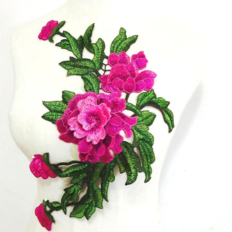 Embroidered Floral 3D Applique Pink Rose Patch Craft Motif 14.75 (BL123)