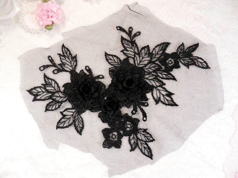 3D Embroidered Lace Applique Black Floral Venice Lace Patch 6.75 (BL124)