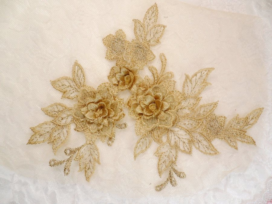D embroidered lace applique champagne floral venice