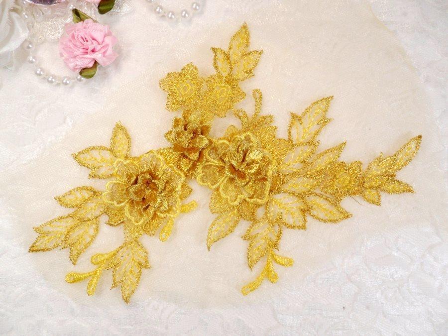 3D Embroidered Lace Applique Gold Floral Venice Lace Patch 6.75 (BL124)