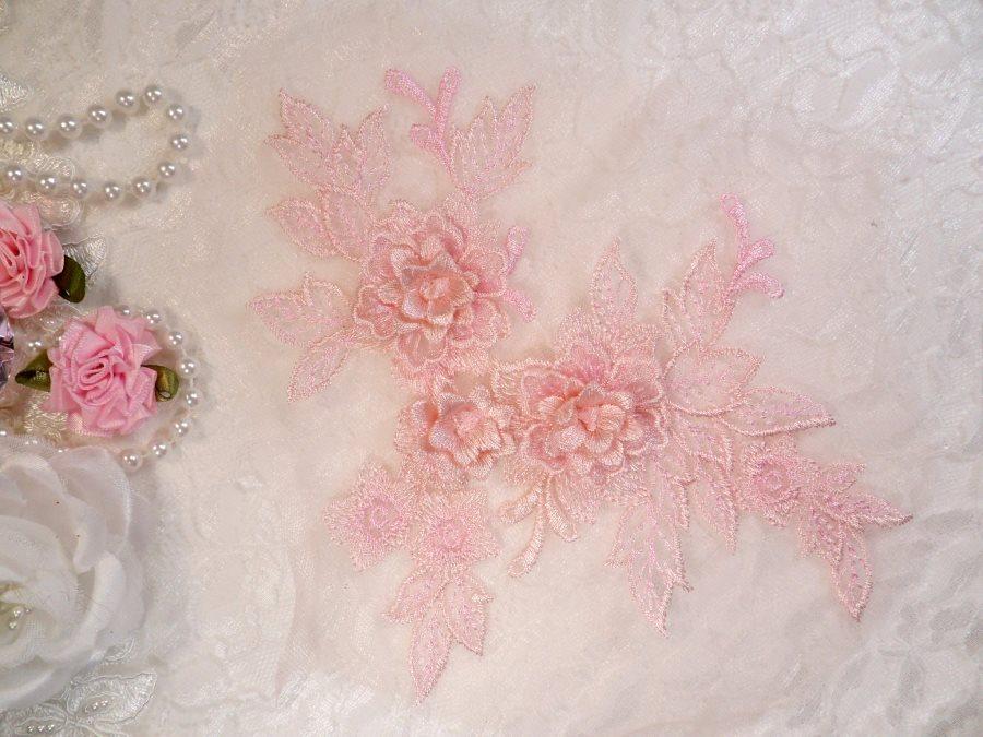 3D Embroidered Lace Applique Pink Floral Venice Lace Patch 6.75 (BL124)