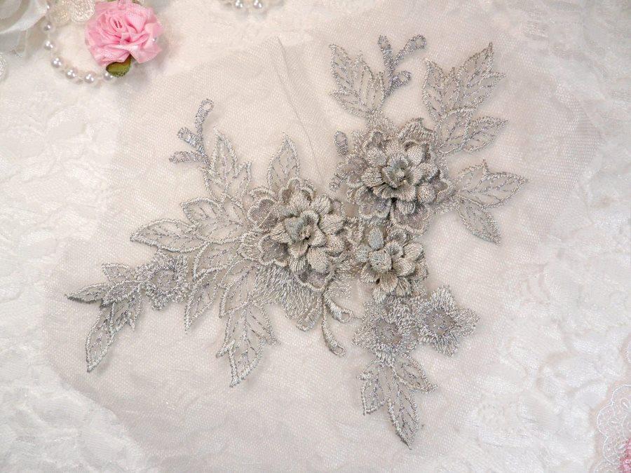 3D Embroidered Lace Applique Silver Floral Venice Lace Patch 6.75 (BL124)