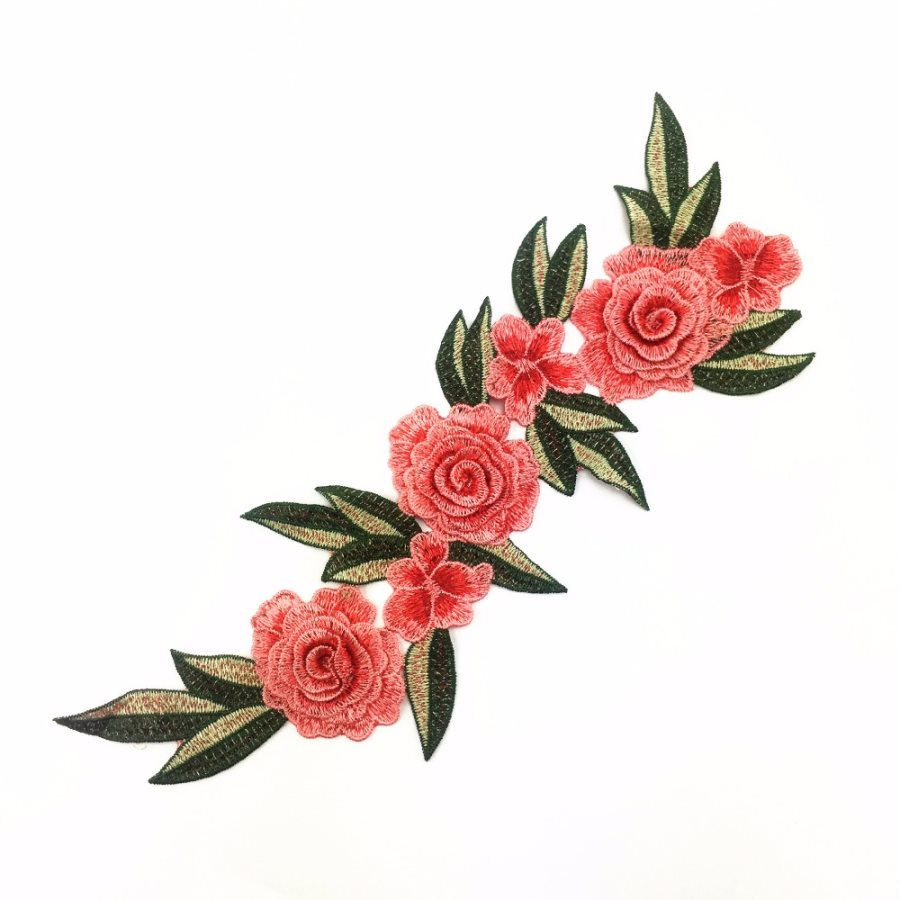 Embroidered Floral 3D Applique Coral Red Rose Patch Craft Motif 15 (BL125)