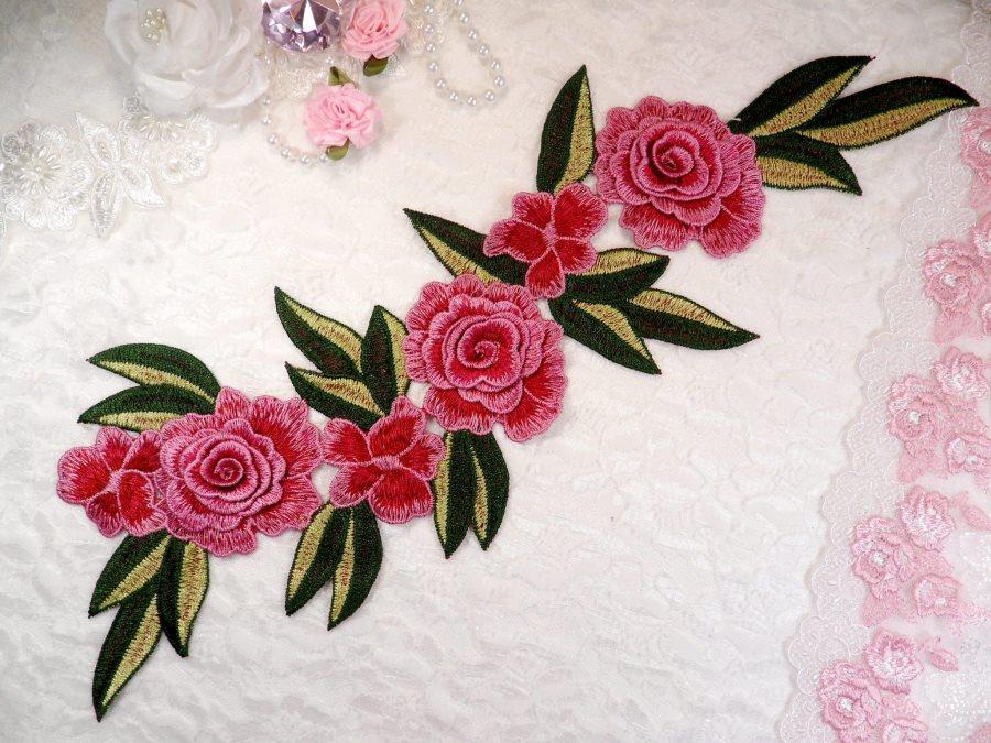 Embroidered Floral 3D Applique Fuschia Rose Patch Craft Motif 15 (BL125)