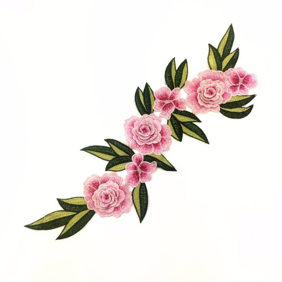 Embroidered Floral 3D Applique Pink Rose Patch Craft Motif 15 (BL125)