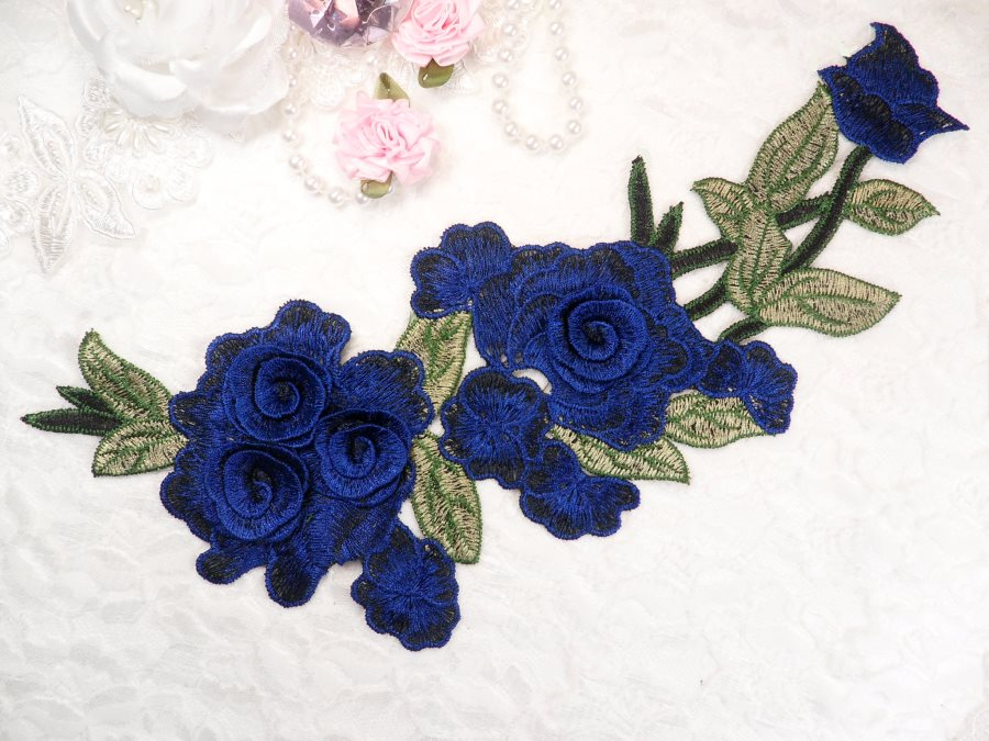 "Embroidered Floral 3D Applique Blue Navy Rose Patch Craft Motif 11.25"" (BL126)"