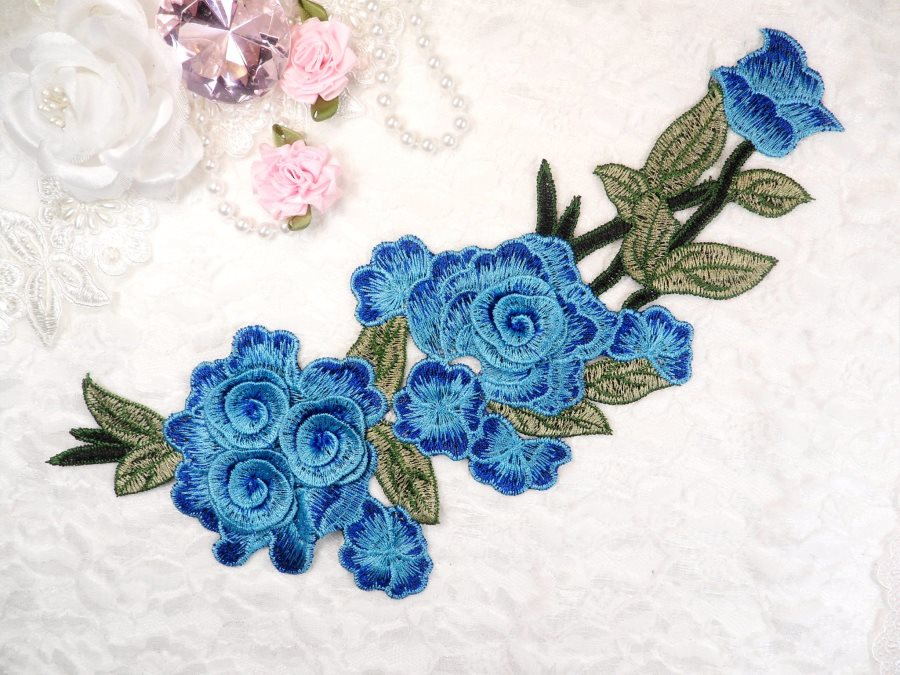 "Embroidered Floral 3D Applique Blue Turquoise Rose Patch Craft Motif 11.25"" (BL126)"