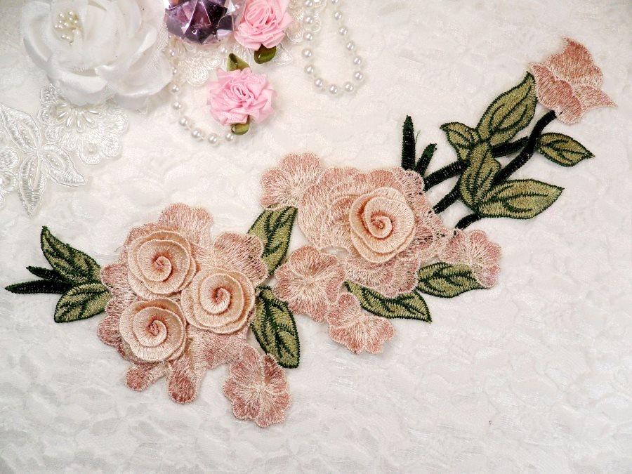Embroidered Floral 3D Applique Pink Mauve Rose Patch Craft Motif 11.25 (BL126)