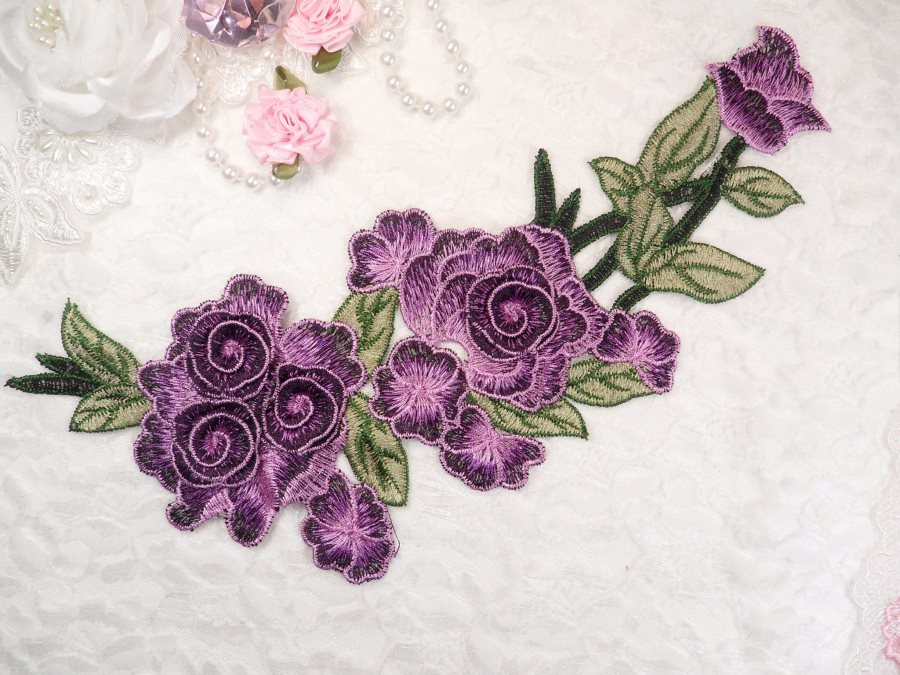 "Embroidered Floral 3D Applique Purple Rose Patch Craft Motif 11.25"" (BL126)"
