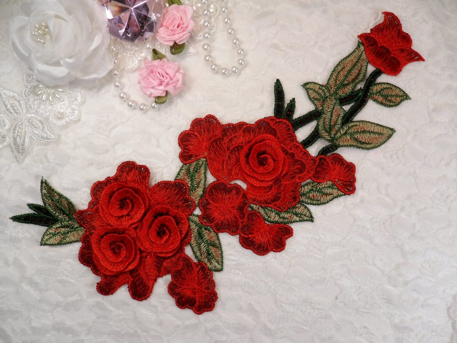 "Embroidered Floral 3D Applique Red Rose Patch Craft Motif 11.25"" (BL126)"