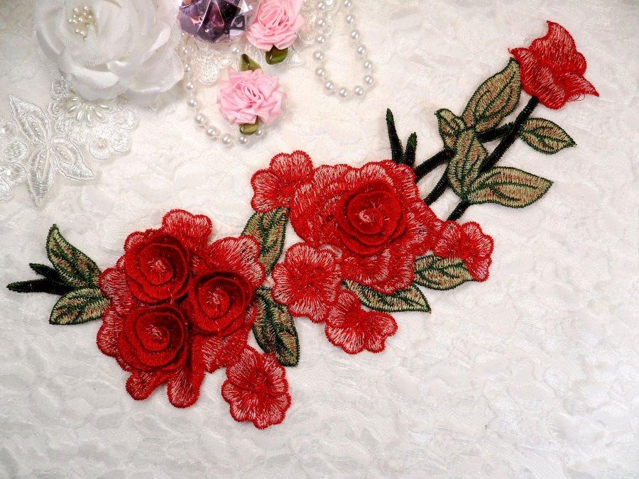 Embroidered Floral 3D Applique Red Pink Rose Patch Craft Motif 11.25 (BL126)