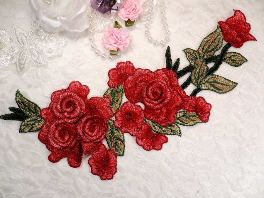 "Embroidered Floral 3D Applique Wine Pink Rose Patch Craft Motif 11.25"" (BL126)"
