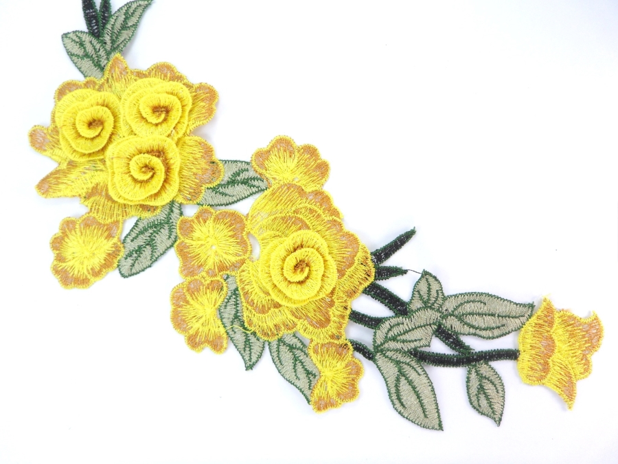 Embroidered Floral 3D Applique Yellow Rose Patch Craft Motif 11.25 (BL126)