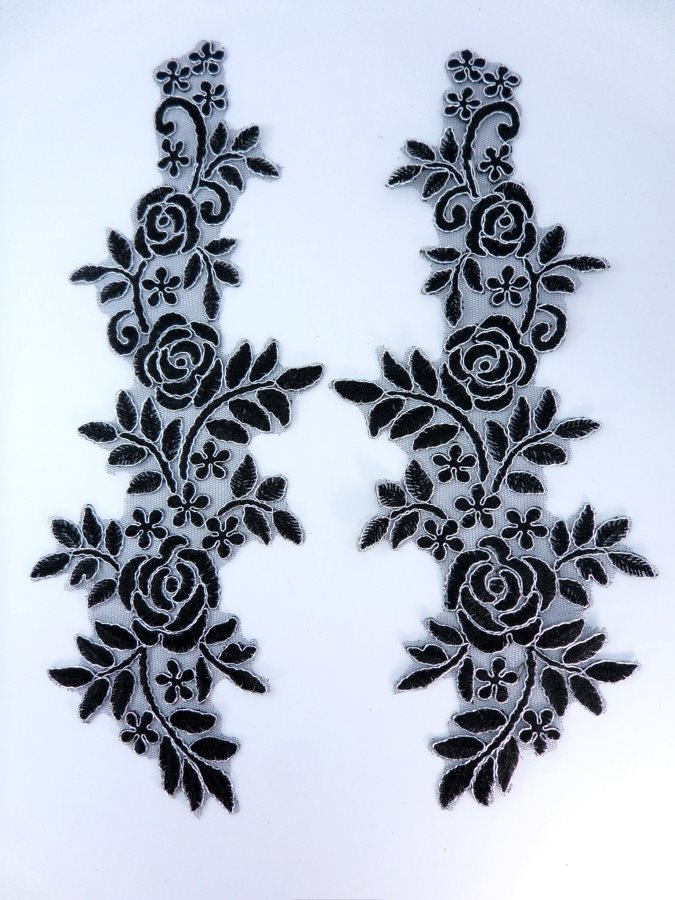 Embroidered Lace Appliques Black Silver Floral Venice Lace Mirror Pair 14 BL128X