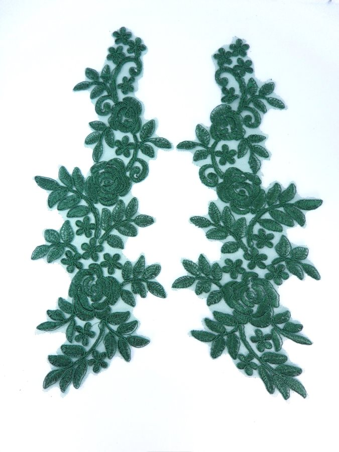 Embroidered Lace Appliques Hunter Green Floral Venice Lace Mirror Pair 14 BL128X