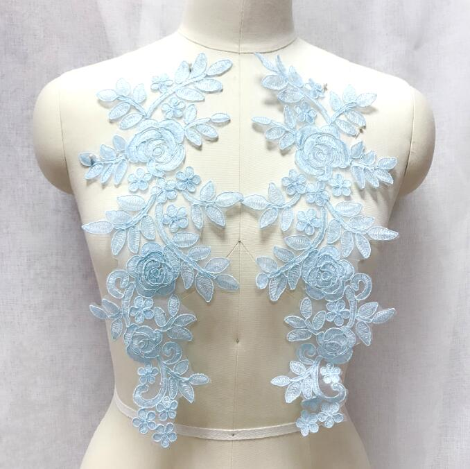 Embroidered Lace Appliques Light Blue Floral Venice Lace Mirror Pair 14 BL128X