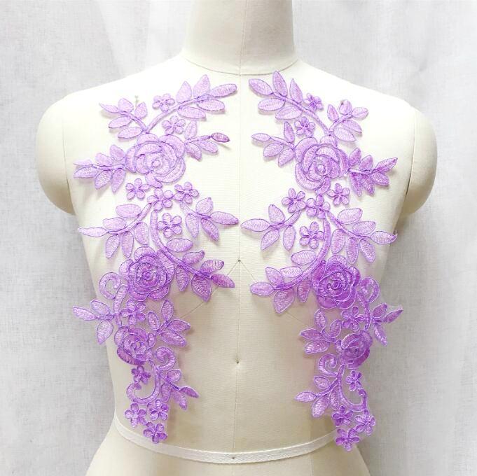 Embroidered Lace Appliques Lavender Floral Venice Lace Mirror Pair 14 BL128X