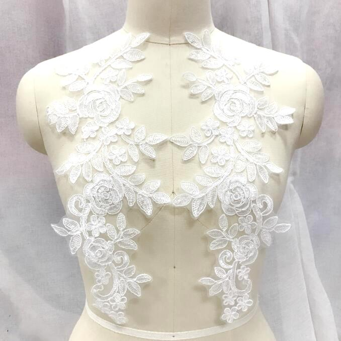 Embroidered Lace Appliques White Floral Venice Lace Mirror Pair 14 BL128X