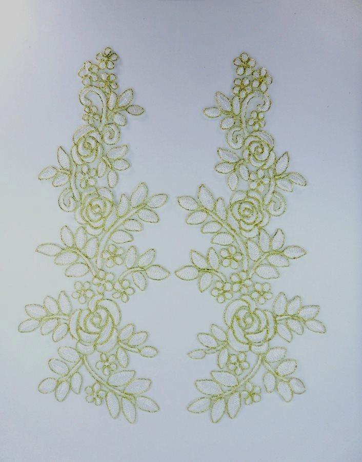 Embroidered Lace Appliques White Gold Floral Venice Lace Mirror Pair 14 BL128X