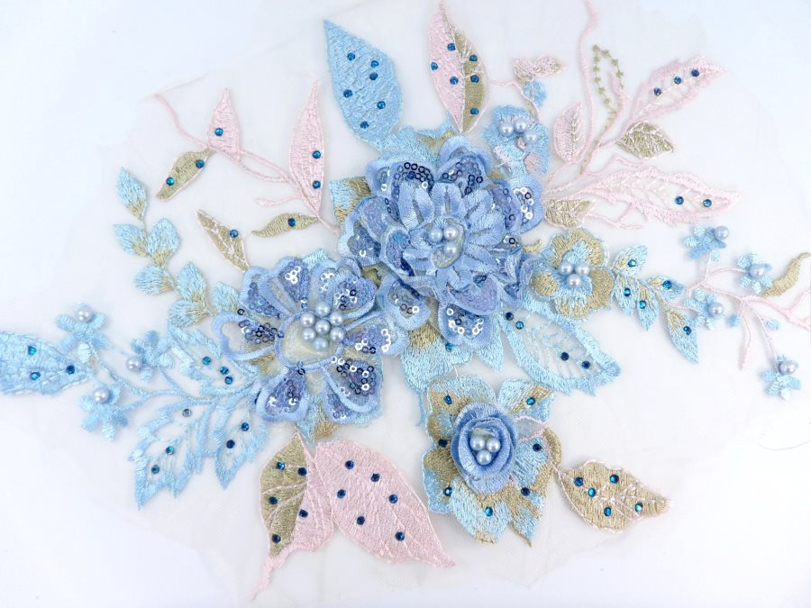 3 Dimensional Embroidered Lace Applique Blue Pink Floral 17 BL129
