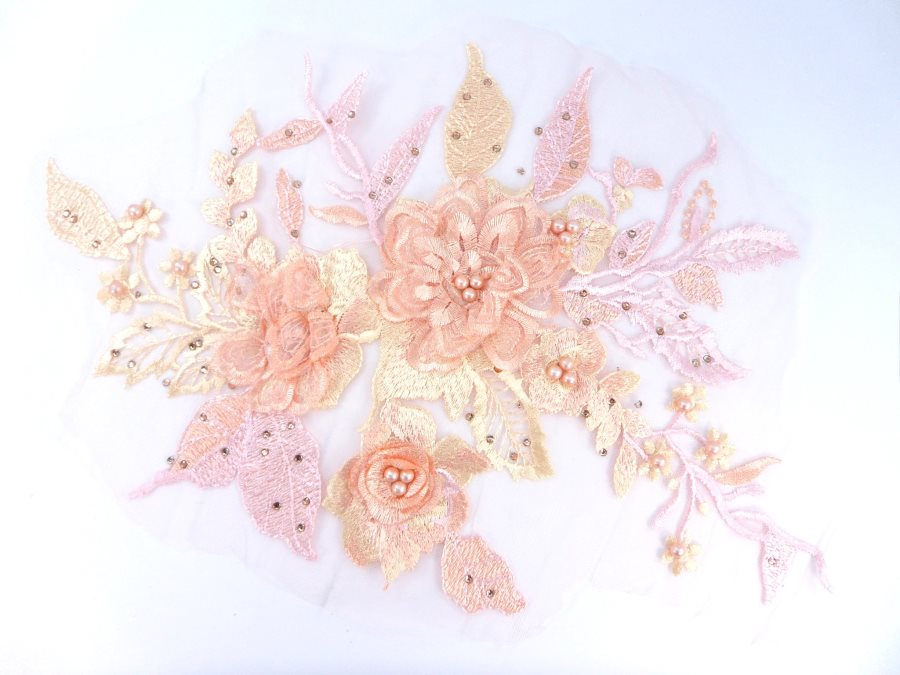 3 Dimensional Embroidered Lace Applique Peach Floral 17 BL129